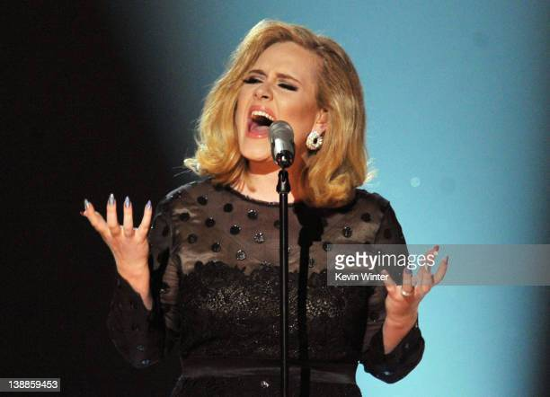 Singer Adele performs onstage at the 54th Annual GRAMMY Awards held at Staples Center on February 12 2012 in Los Angeles California