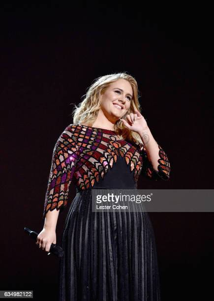 Singer Adele performs onstgage during The 59th GRAMMY Awards at STAPLES Center on February 12 2017 in Los Angeles California
