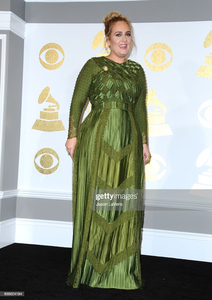 Singer Adele poses in the press room at the 59th GRAMMY Awards at Staples Center on February 12, 2017 in Los Angeles, California.