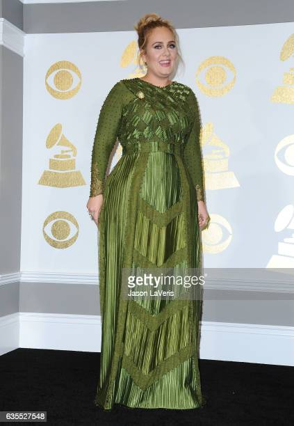 Singer Adele poses in the press room at the 59th GRAMMY Awards at Staples Center on February 12 2017 in Los Angeles California