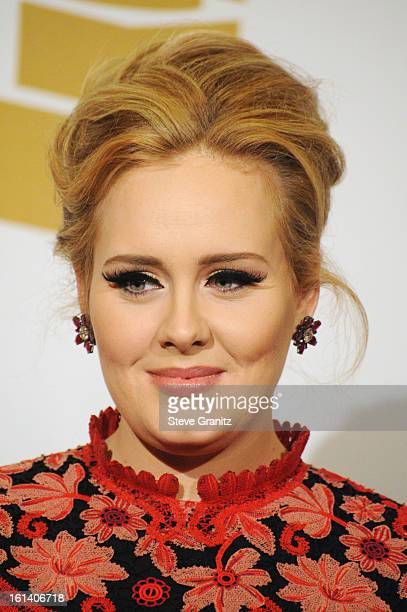 Singer Adele poses in the press room during the 55th Annual GRAMMY Awards at STAPLES Center on February 10, 2013 in Los Angeles, California.