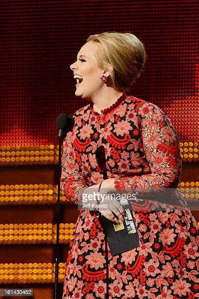 Singer Adele presents an award onstage at the 55th Annual GRAMMY Awards at Staples Center on February 10 2013 in Los Angeles California