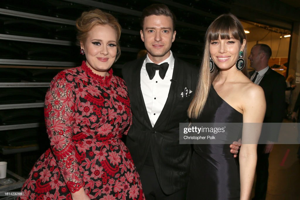 Singer Adele, singer Justin Timberlake and actress Jessica Biel appear onstage during the 55th Annual GRAMMY Awards at STAPLES Center on February 10, 2013 in Los Angeles, California.