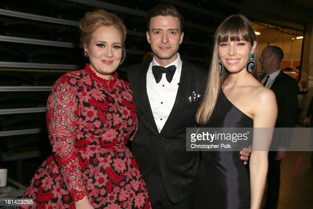 Singer Adele, singer Justin Timberlake and actress Jessica Biel appear onstage during the 55th Annual GRAMMY Awards at STAPLES Center on February 10,...