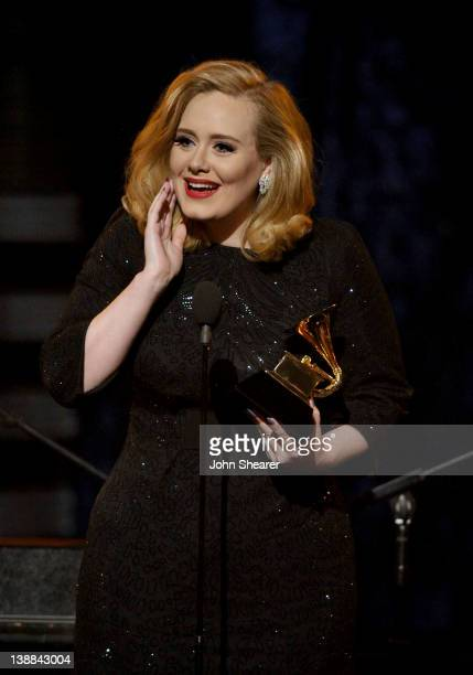 Singer Adele speaks onstage at The 54th Annual GRAMMY Awards at Staples Center on February 12 2012 in Los Angeles California