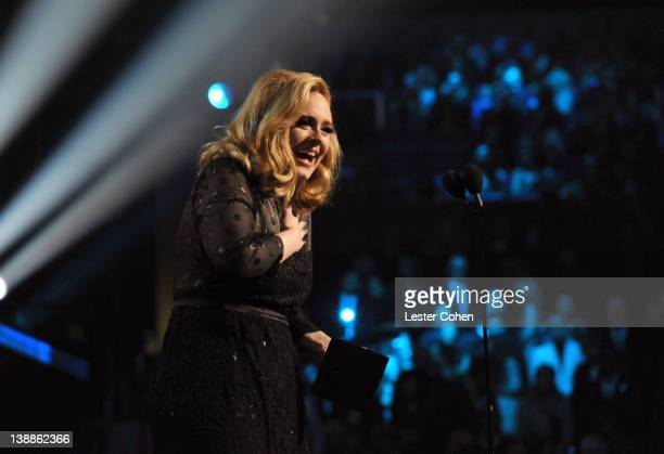 Singer Adele speaks onstage at The 54th Annual GRAMMY Awards at Staples Center on February 12, 2012 in Los Angeles, California.