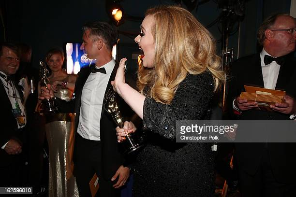 Singer Adele winner of the Best Original Song award for Skyfall backstage during the Oscars held at the Dolby Theatre on February 24 2013 in...