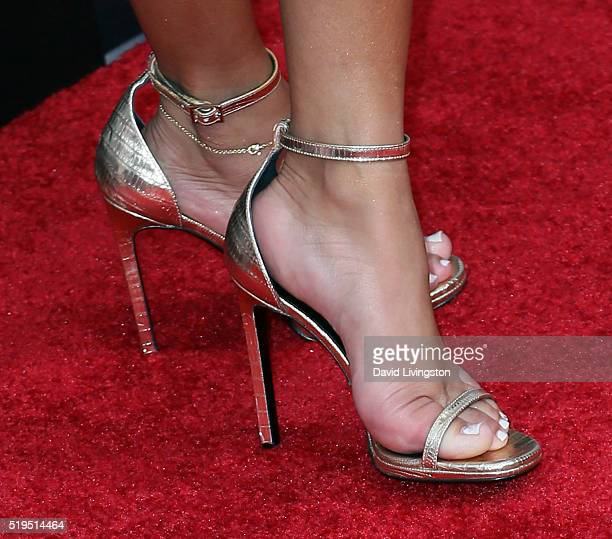 Singer Adrienne Bailon shoe detail attends the premiere of New Line Cinema's 'Barbershop The Next Cut' at the TCL Chinese Theatre on April 6 2016 in...