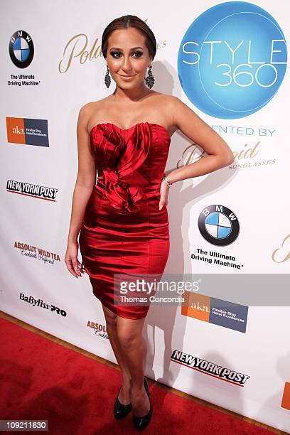 Singer Adrienne Bailonattends Bebe Fall Collection Fashion Show at NYC Fashion Week STYLE360 presented by Polaroid Eyewear at Metropolitan Pavilion...