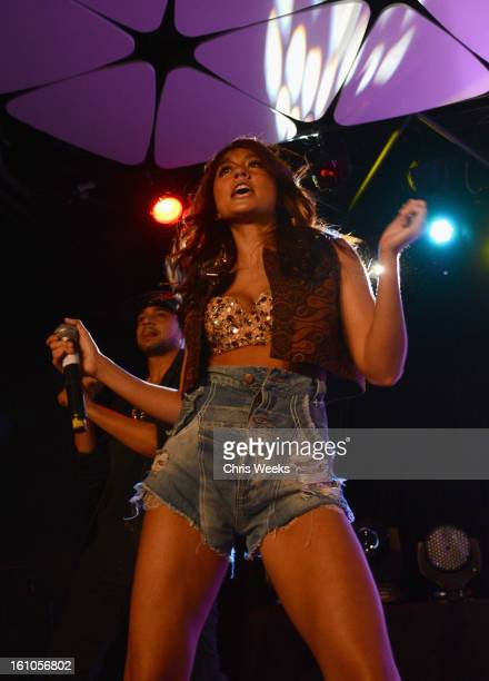Singer Agnes Monica performs during mPowering Action a global mobile youth movement at Grammy Week launch featuring performances by Timbaland and...