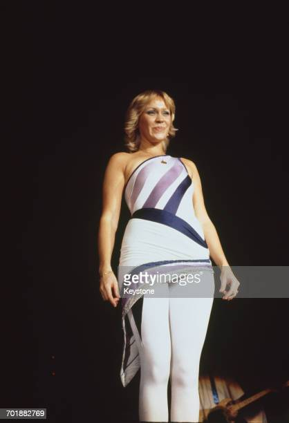 Singer Agnetha Fältskog of the Swedish pop group ABBA on stage during a concert 1979