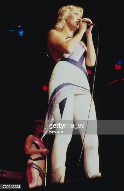 Singer Agnetha Fältskog performing with Swedish pop group Abba on their third and final tour 1979