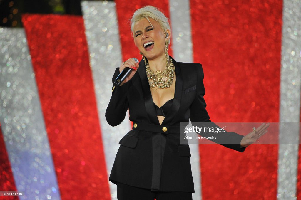 Singer Agnez Mo performs during A California Christmas at The Grove Presented by Citi on November 12, 2017 in Los Angeles, California.
