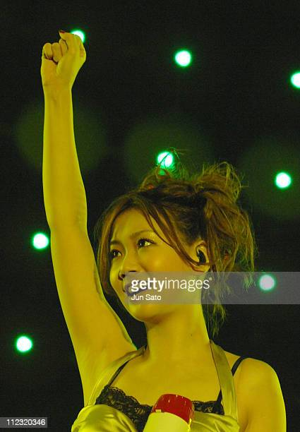 Singer Ai Otsuka performs on stage at the Tokyo leg of the Live Earth series of concerts at Makuhari Messe Chiba on July 7 2007 in Tokyo Japan