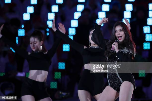 Singer Ailee takes part during the closing ceremony of the PyeongChang 2018 Paralympic Games at the PyeongChang Olympic Stadium on March 18 2018 in...