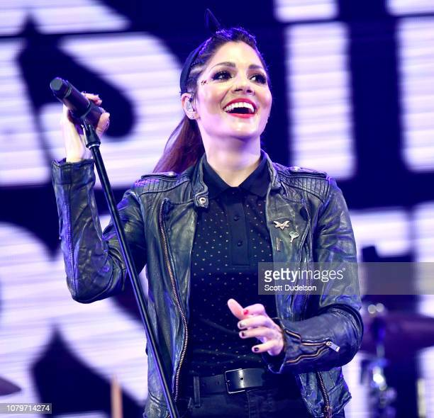 Singer Aimee Allen of the band The Interrupters performs onstage during day 1 of the KROQ Absolut Almost Acoustic Christmas 2018 at The Forum on...