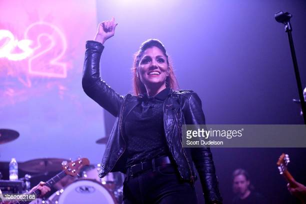 Singer Aimee Allen of the band The Interrupters performs onstage during the Strange 80's concert at The Fonda Theatre on October 12 2018 in Los...