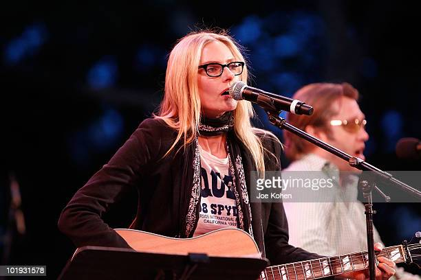 Singer Aimee Mann and John Roderick perform in concert at SummerStage at Rumsey Playfield Central Park on June 8 2010 in New York City