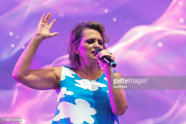 Singer Ainhoa Arteta performs during the 'Concierto X la Paz' at the Wanda Metropolitano in Madrid Spain on 30 June 2019