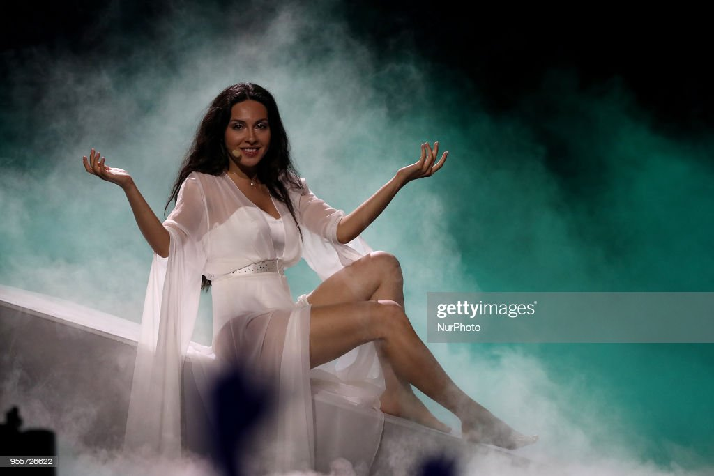 Singer Aisel of Azerbaijan performs during the Dress Rehearsal of the first Semi-Final of the 2018 Eurovision Song Contest, at the Altice Arena in Lisbon, Portugal on May 7, 2018.