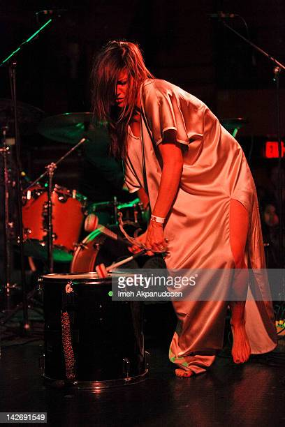 Singer Aja Volkman of Nico Vega opens for Neon Trees at The Troubadour on April 10 2012 in West Hollywood California