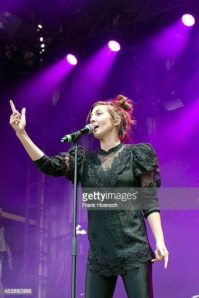 Singer Aja Volkman of the American band Nico Vega performs live in support of Imagine Dragons during a concert at the Zitadelle Spandau on August 20...