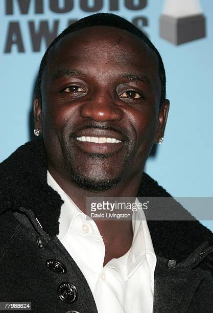 Singer Akon poses in the press room at the 2007 American Music Awards held at the Nokia Theatre LA LIVE on November 18 2007 in Los Angeles California