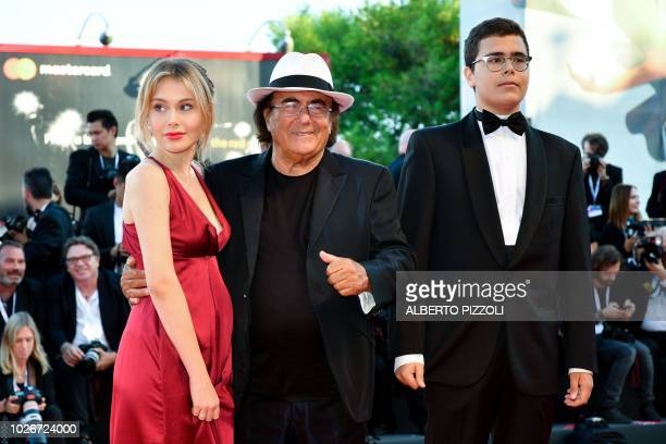 Singer Al Bano his daughter Jasmine Carrisi and his son AlBano Carrisi Jr arrive for the premiere of the film Vox Lux presented in competition on...