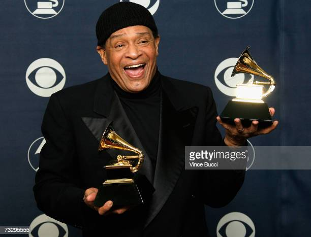 Singer Al Jarreau poses in the press room with his Grammy for Best Traditional RB Vocal Performance at the 49th Annual Grammy Awards at the Staples...