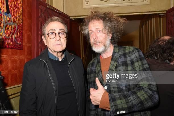 Singer Alain Chamfort and Technikart magazine publisher Fabrice de Rohan Chabot attend Jean Pierre Kalfon ad PIB band Concert at Theatre Dejazet on...