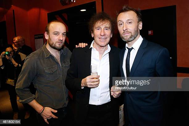 Singer Alain Souchon standing between his sons Ours alias Charles Souchon and Organizer of the Event Pierre Souchon attend the '10th Charity Gala...