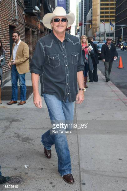 """Singer Alan Jackson leaves the """"Late Show With David Letterman"""" taping at the Ed Sullivan Theater on October 29, 2013 in New York City."""