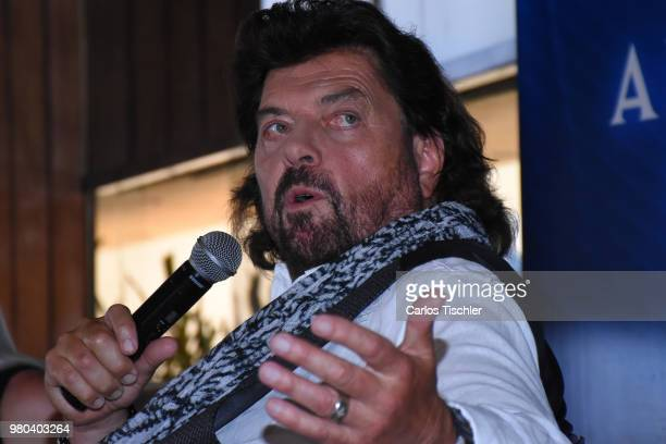 Singer Alan Parsons speaks during the press conference to announce the Symphonic Concert next June 20th at Sevilla Palace Hotel on June 19 2018 in...