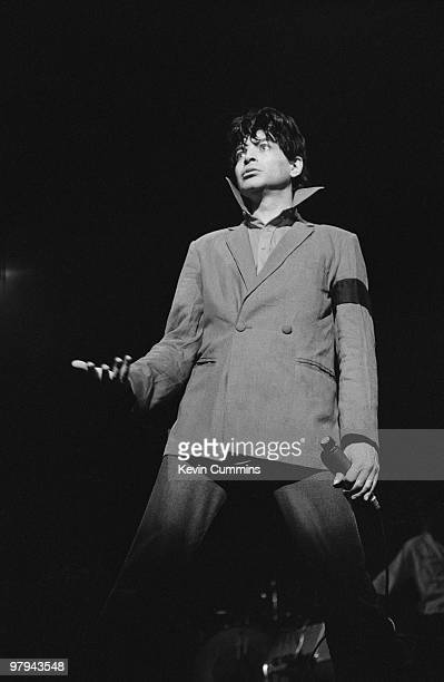 Singer Alan Vega of American band Suicide performs on stage at the Apollo Theatre in Manchester, England on July 02, 1978.