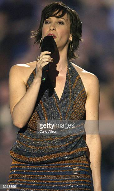 Singer Alanis Morissette hosts the 2004 Juno Awards at Rexall Place on April 4 2004 in Edmonton Alberta Canada The Junos celebrate excellence in...