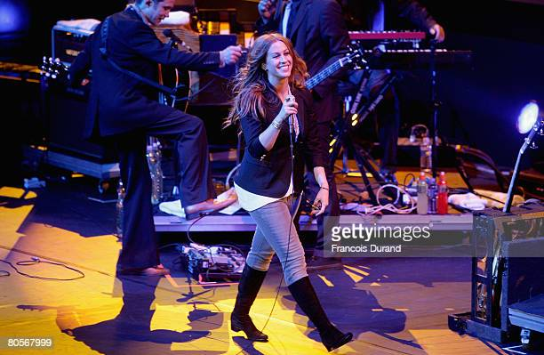 Singer Alanis Morissette performs during 'The Crossing' gala event hosted by IWC Schaffhausen held at the Geneva Palaexpo on April 8, 2008 in Geneva,...