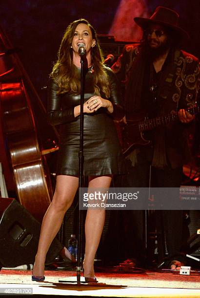 Singer Alanis Morissette performs onstage at the 25th anniversary MusiCares 2015 Person Of The Year Gala honoring Bob Dylan at the Los Angeles...