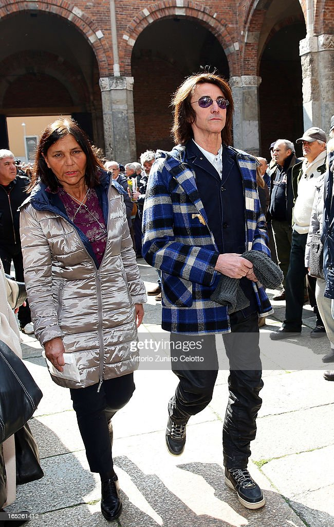 Singer Alberto Fortis attends the funeral of Singer Enzo Jannacci at Basilica di Sant'Ambrogio on April 2, 2013 in Milan, Italy.