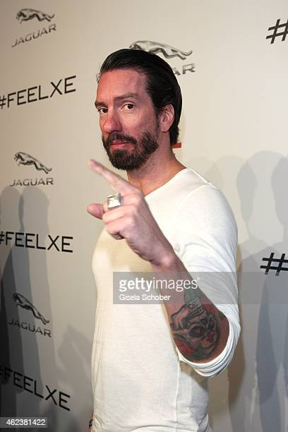 Singer Alec Voelkel aka Boss Burns attends the JAGUAR XE presentation at Umspannwerk on January 27 2015 in Berlin Germany