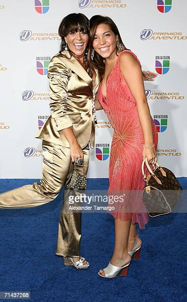 Singer Alejandra Guzman and her daughter Frida Sofia arrive at the 3rd Annual Premios Juventud Awards at the University of Miami BankUnited Center...
