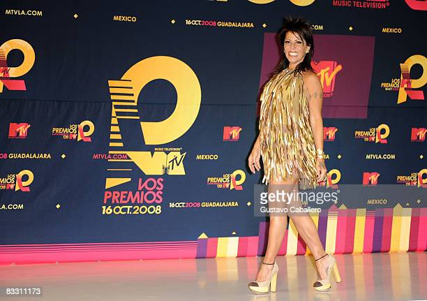 Singer Alejandra Guzman poses in the press room during the 7th Annual 'Los Premios MTV Latin America 2008' Awards held at the Auditorio Telmex on...