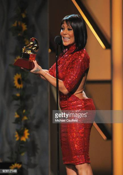 Singer Alejandra Guzman speaks onstage at the 10th Annual Latin GRAMMY Awards held at the Mandalay Bay Events Center on November 5 2009 in Las Vegas...