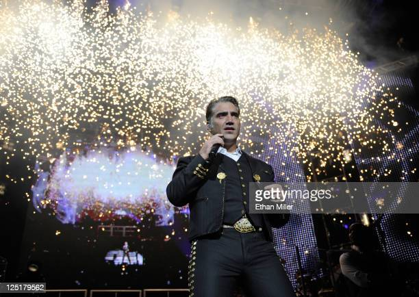 Singer Alejandro Fernandez performs during his Dos Mundos tour at the MGM Grand Garden Arena September 15 2011 in Las Vegas Nevada