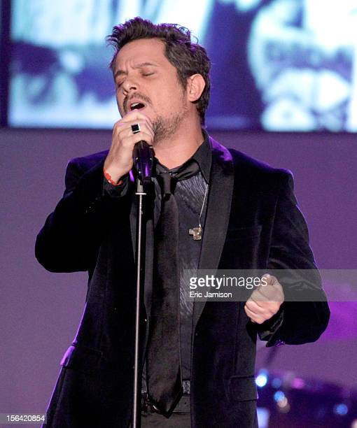 Singer Alejandro Sanz onstage during the 2012 Latin Recording Academy Person Of The Year honoring Caetano Veloso at the MGM Grand Garden Arena on...