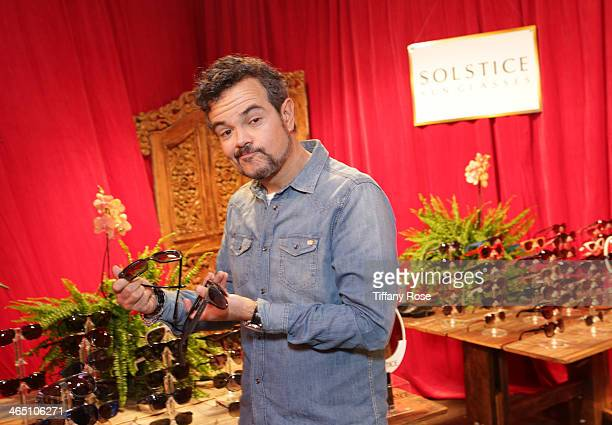 Singer Aleks Syntek with the Solstice Sunglasses and Safilo USA display at the GRAMMY Gift Lounge during the 56th GRAMMY Awards at Staples Center on...