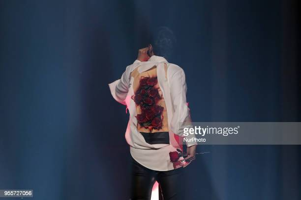 Singer ALEKSEEV of Belarus performs during the Dress Rehearsal of the first SemiFinal of the 2018 Eurovision Song Contest at the Altice Arena in...