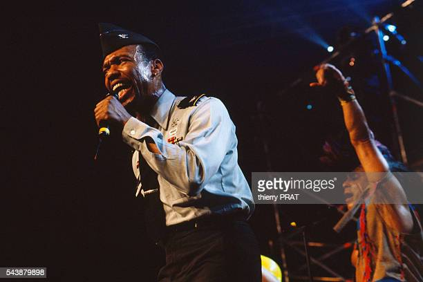 Singer Alex Briley from the American group The Village People performing at the Disco Fever Party at the Zenith in Paris