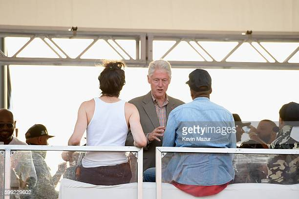 Singer Alex Ebert of Edward Sharpe and the Magnetic Zeros Former President Bill Clinton and Jay Z speak during the 2016 Budweiser Made in America...