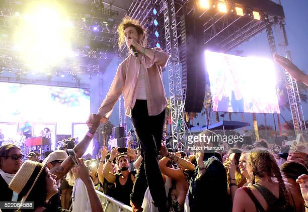 Singer Alex Ebert of Edward Sharpe and the Magnetic Zeros interacts with the audience during day 3 of the 2016 Coachella Valley Music And Arts...