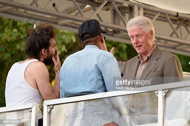Singer Alex Ebert of Edward Sharpe and the Magnetic Zeros Jay Z and Former President Bill Clinton speak during the 2016 Budweiser Made in America...